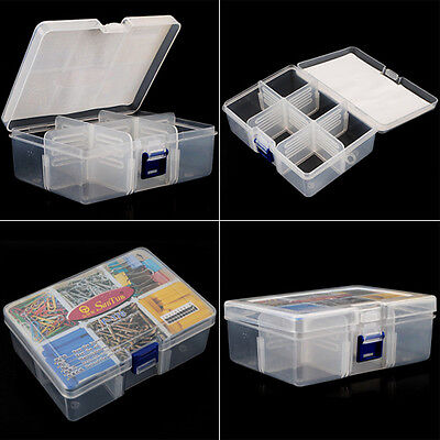 NEW Plastic 6 Compartments Portable Storage Container Organizer Tools Box Case