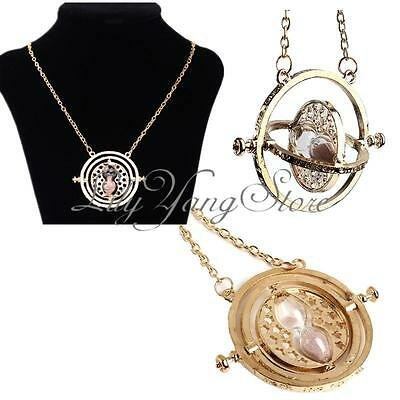 Fashion Gold Time Turner Necklace Hermione Granger Rotating Spins Hourglass