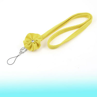 Flower Decor Neck Lanyard Strap String Yellow for Mobile Phone Camera MP3