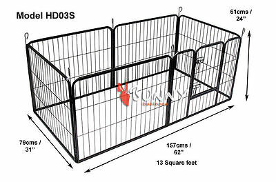 Heavy Duty 6 Piece Puppy Dog Play Pen Run Enclosure Welping Pen Playpen HD03S
