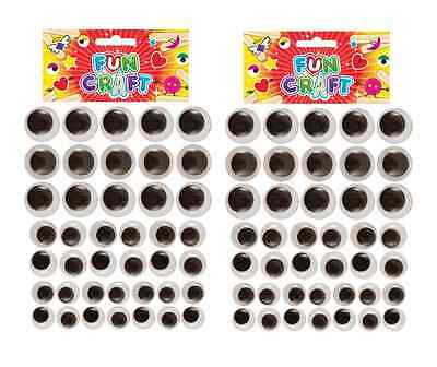 80 x (2 PACKS 40) ROUND WIGGLY WOBBLY GOOGLY EYES MIXED SIZES 10mm 15mm 20mm H/B