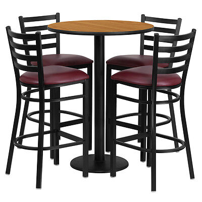 30'' Natural Finish Bar Height Laminate Table Set with 4 Ladder Metal Bar Stools