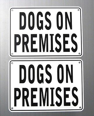"""Dogs On Premises"" Warning Signs 2Sign Set, Metal, Heavyweight Aluminum"