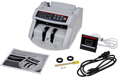 Bill Currency Money Counter Cash Counting Bank Machine UV MG Detector W/ Display