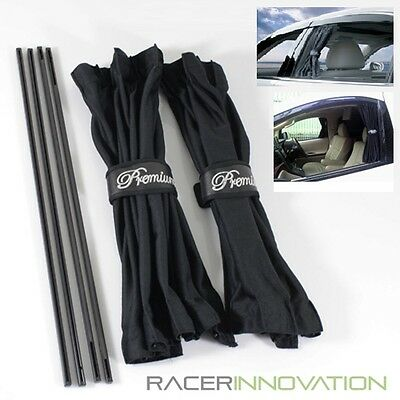 2PC 50cmx42cm Black Mesh Interlock VIP Style Car Window Curtain Sunshade Visor
