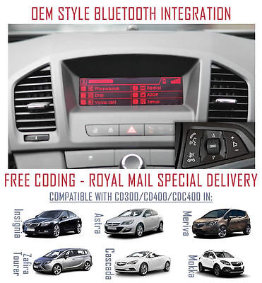 Vauxhall Astra J Retrofit OEM Upgrade Bluetooth for CD300 & CD400 Headunits A2DP