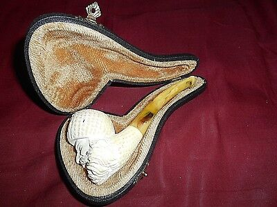 VINTAGE MEERSCHAUM SMOKING PIPE WITH CASE USED SMOKED BEARDED MAN NO MOLD SEAM.