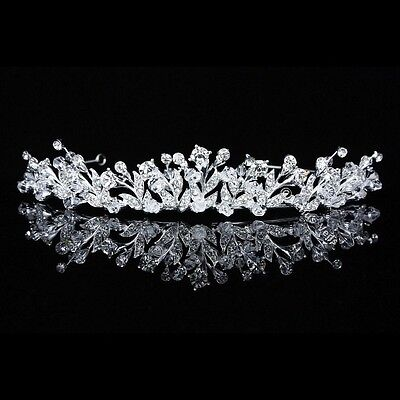 Handmade Bridal Floral Rhinestones Crystal Prom Wedding Crown Tiara 8715
