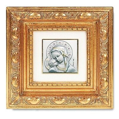 "Madonna with Christ Child Sterling Silver Image in 5 1/2"" Gold Leaf Resin Frame"