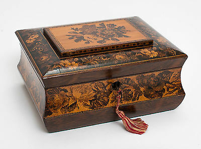 An Antique Tunbridge Ware Sewing or Work Box Inlaid with Roses - Victorian c1870