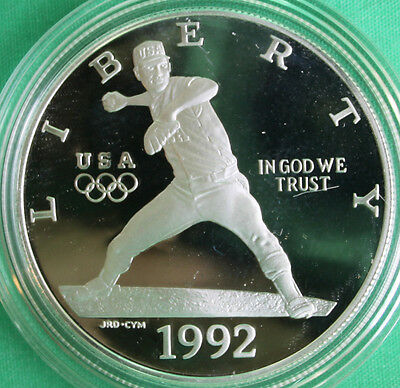 1992 Olympic Proof Silver Dollar Baseball Player US Mint Commemorative COIN ONLY