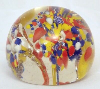 """Vintage Round Murano Art Glass Paperweight 2"""" Red Yellow Blue White Multi Color"""