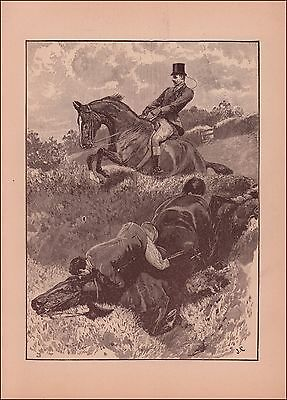 Fox Hunting Accident at a Jump, antique engraving, print, original 1892