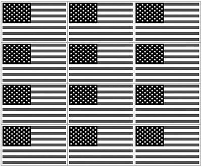 "12 qty of 3""x5"" BW USA Flag Black White Gray Decal Sticker - American US Gray"
