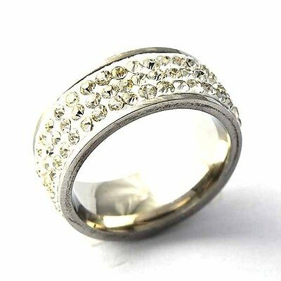 Pretty White Gold Filled 3-Row Clear CZ Womens band Ring  SZ 6-9# D2124-D2127