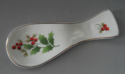 ROYAL NORFOLK Christmas Holly China Spoon Rest