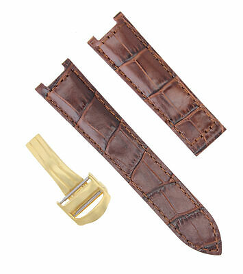 18Mm Leather Watch Band Strap Deployment For Cartier Pasha 2324 Brown 1Pc Gold