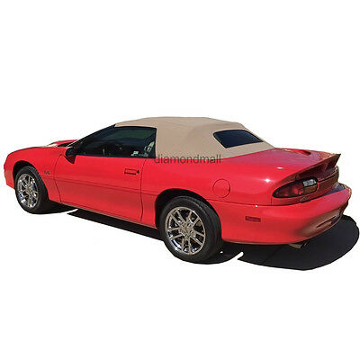 Chevrolet Camaro 1994-02 Convertible Soft Top With Plastic Window Tan Pinpoint