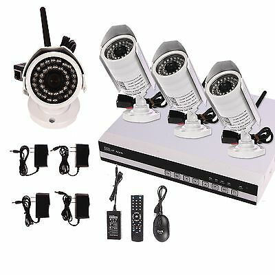 4CH Network NVR CCTV DVR IP Wireless Outdoor Security Camera System 1TB HDD Kit