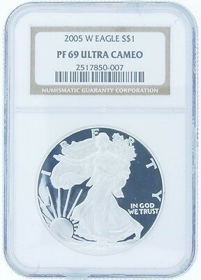 2005 W US Proof American Silver Eagle $1 NGC Graded PF 69 Ultra Cameo 1 Oz Coin