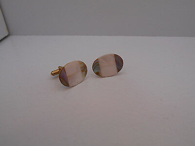 Vintage Faux Mop Mother Of Pearl  & Oyster Shell  Cufflinks