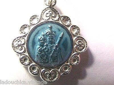 FRENCH 1940s SMALL RELIGIOUS CHARM - STERLING SILVER PLATED & BLUE ENAMEL - NEW