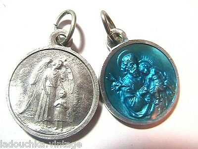 FRENCH 1940s RELIGIOUS CHARM MEDAL - ANGEL -SILVER  & BLUE ENAMEL- NEW/OLD STOCK