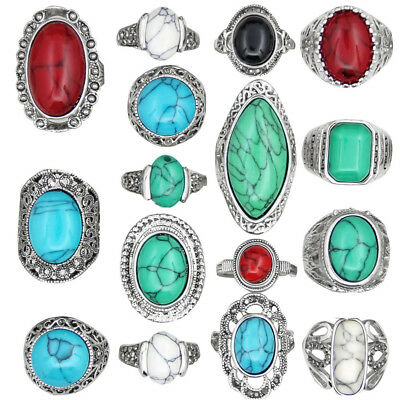 Wholesale Lot 10pcs Antique Silver Plated Color Design Mixed Turquoise Rings