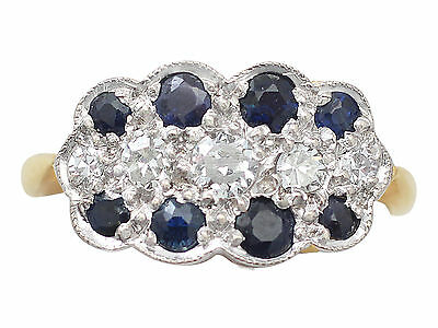 Antique 0.32ct Sapphire and 0.20ct Diamond, 18k Yellow Gold Ring - Circa 1910