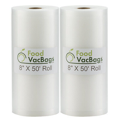 """Two 8""""X50' Giant Bulk Rolls Food Saver Storage Vacuum Sealer Bags by FoodVacBags"""