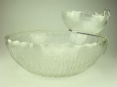 Vintage Kiwi Cut Glass Chip and Dip Bowls and Hanger KIG Group Indonesia (185)