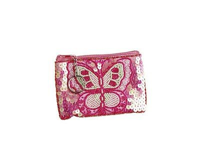 10 x Job Lot Girls Pink Sequin Butterfly Coin Purses Gift Party Bag CP-0903 Katz