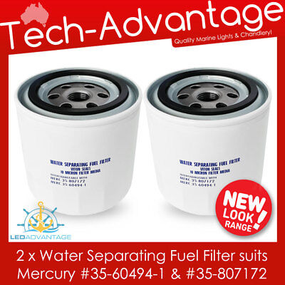 2 X Boat Water Separating Outboard Fuel Filters (Mercury 35-60494-1 & 35-807172)
