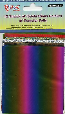 12 Sheets Transfer Foils Celebration Colours Rainbow Shimmer Shiny Leopard Print