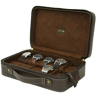 10 Watch Case Compact Travel Briefcase Design Brown Leather TS5974BRN
