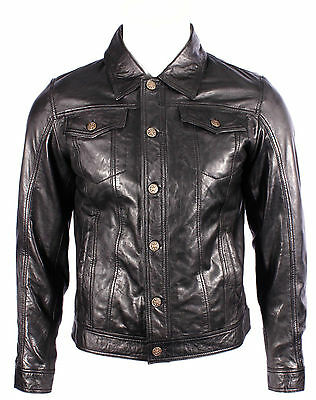 'TRUCKER' Denim New Men's WAXED Black Napa Soft Real Western Leather Rock Jacket