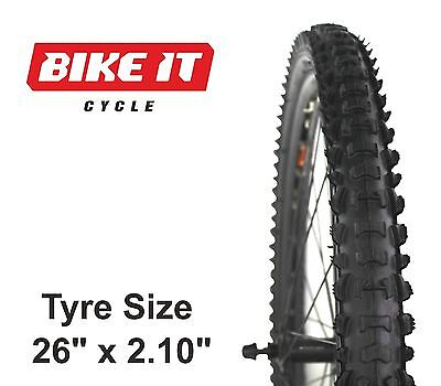 "ECONOMY MTB TYRE 26"" x 2.10"" KNOBBLY TREAD MOUNTAIN BIKE BICYCLE CYCLE TIRE"