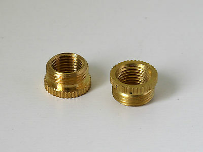 2 x Brass lamp holder thread reducing adaptor from 13mm or 1/2 inch to 10mm