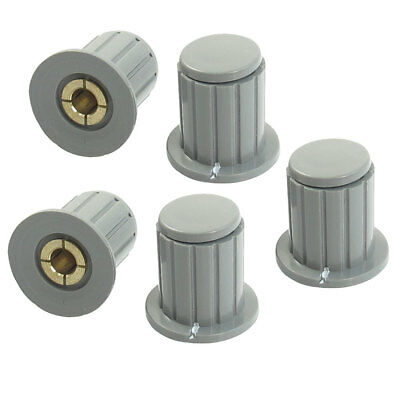 5 Pcs 4mm Shaft Insert Dia Brass Tone Core Potentiometer Control Knobs