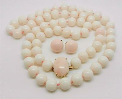 """14K Yellow Gold Angel Skin Coral 9Mm Bead 26"""" Necklace And Earrings Set - Lb2222"""