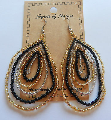 Earring Spirit of Nature seed beads circle-silver gold black -dangly-