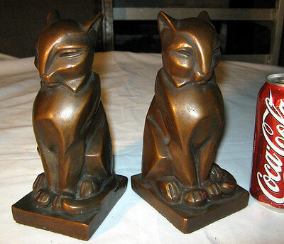 Rare Antique Bronze Clad Art Deco Egyptian Gothic Medieval Cat Statue Bookends