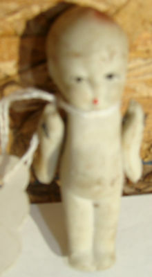 VINTAGE Porcelain Bisque Doll w wire  MINI 2 5/8 in long