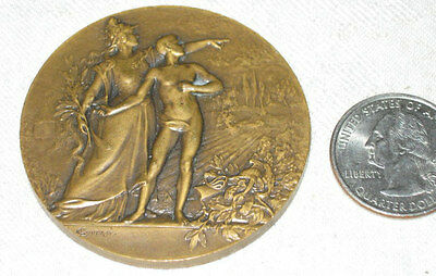 Antique Gay Bronze Nude Boy Man Lady Dress Art Medal Rifle Plaque Paperweight