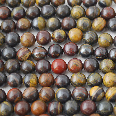 """16"""" Strand Natural Tiger's Tiger Eye Iron Round Beads 4mm - 10mm - Grade A"""