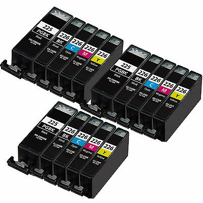 15 Pack Canon CLI-226 PGI-225 Ink Cartridge - PIXMA MG5120 MG5220 MG5320 Printer