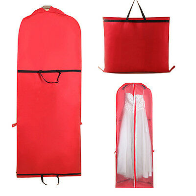Wedding Bridal Long Dress Gown Garment Storage Red Protective Bag Cover Case