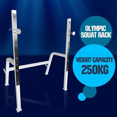 250kg Adjustable Olympic Squat Rack Stand Home Gym Weight Training Bench Press