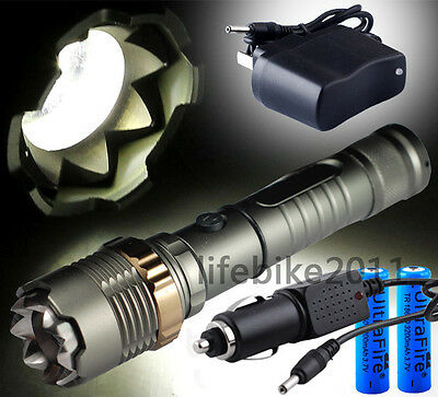 CREE XM-L T6 LED 2200Lm Zoomable Flashlight Torch Zoom Lamp 2x18650+Car Charger