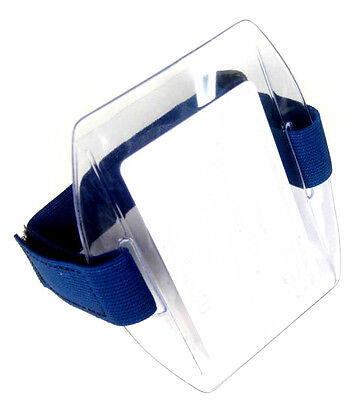 Arm Band Photo ID Badge Holder Vertical w/ Blue Strap